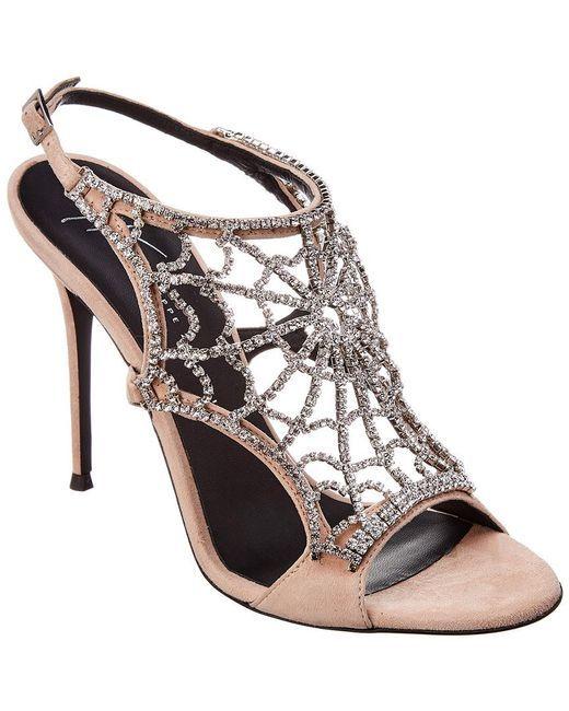76dd03a86ec5c Women's Natural Embellished Web Suede Sandal | shoes Giuseppe ...