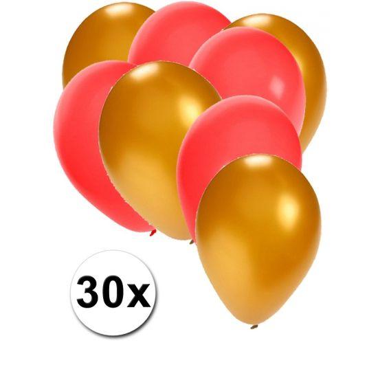 Gouden en rode ballonnen 30 stuks  30 stuks ballonnen in de kleuren goud en rood. Van elke kleur 15 ballonnen leuk voor verjaardagen en themafeesten. Formaat is ongeveer 27 cm. Goede kwaliteit.  Dit artikel bestaat uit: 1x Gouden ballonnen 15 stuks 1x Rode ballonnen 15 stuks  EUR 2.99  Meer informatie