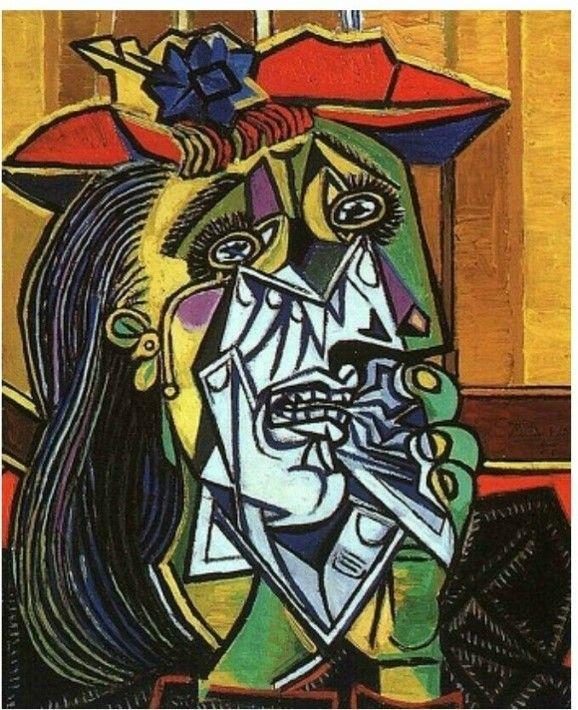 <우는 여인>, 피카소,1937 도라 마르는 이미 피카소의 연인이자 딸 마야의 어머니인 마리와 연적이 되어있었고, 이러한 운명은 그녀를 슬픈 여인으로 만들어버렸다.  그녀는 피카소에게 상처를 많이 받았으며 이로 인해 피카소가 남긴 초상화들에서 그녀는 대부분 슬픈 표정을 하고 있다.