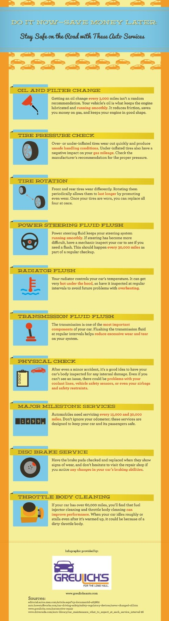Even if a car accident doesn't create any external vehicle damage, this incident may cause a problem in the car's coolant lines, safety sensors, or airbag features. Learn more important car care tips by taking a look at this infographic! Source: http://www.greulichsauto.com/670206/2013/03/26/do-it-now%E2%80%94save-money-later-stay-safe-on-the-road-with-these-auto-services-infographic.html