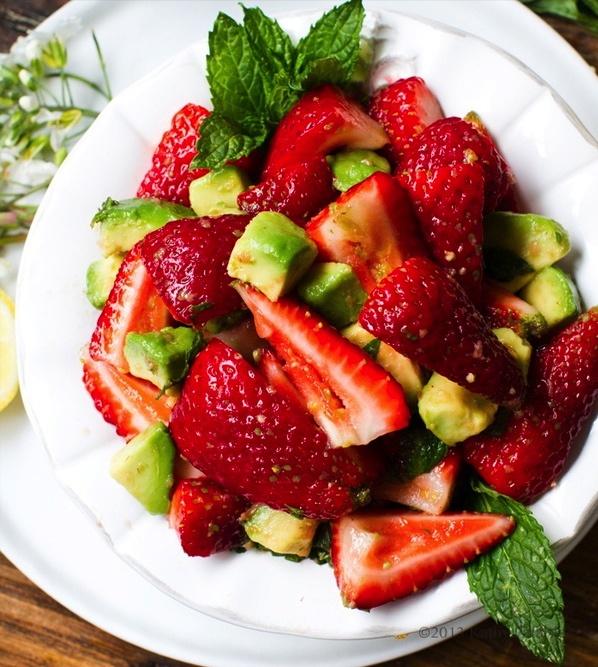 Ginger-Mint-Lemon Strawberry + Avocado Salad