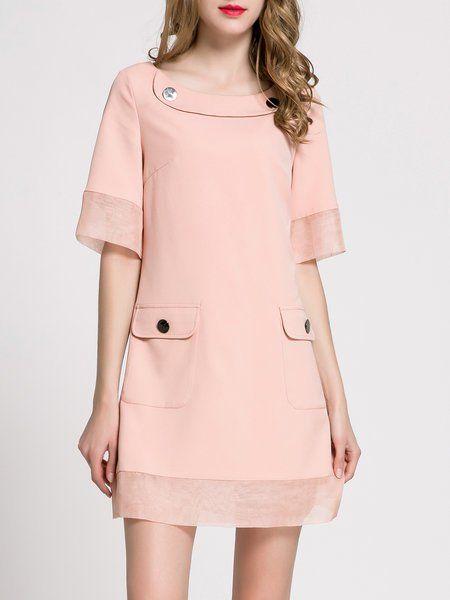 Shop Mini Dresses - Pink Cotton-blend Solid Half Sleeve Crew Neck Mini Dress online. Discover unique designers fashion at StyleWe.com.