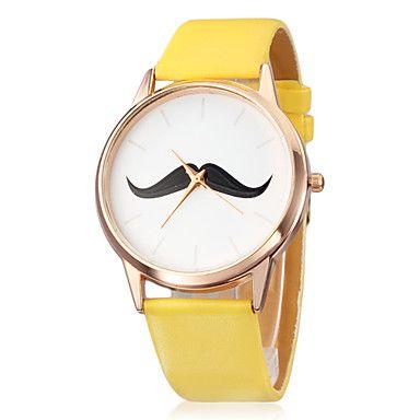 Unisexe Moustache Pattern PU bande de quartz analogique montre-bracelet (couleurs assorties) – EUR € 4.22