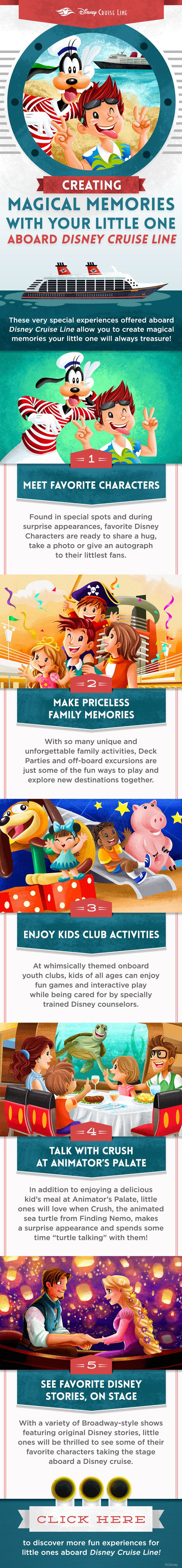 These very special experiences offered onboard Disney Cruise Line allow you to create magical memories your little ones will remember. Click to learn more about cruise fun for little ones!
