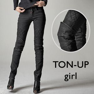 OMG protective riding pants that aren't unflattering and bulky??  They even make some that are lined with Kevlar but still look like normal jeans!! This is one of the greatest websites I've ever pinned. Style:TON-UP girl-very cool urban riding pants from Ugly Bros!