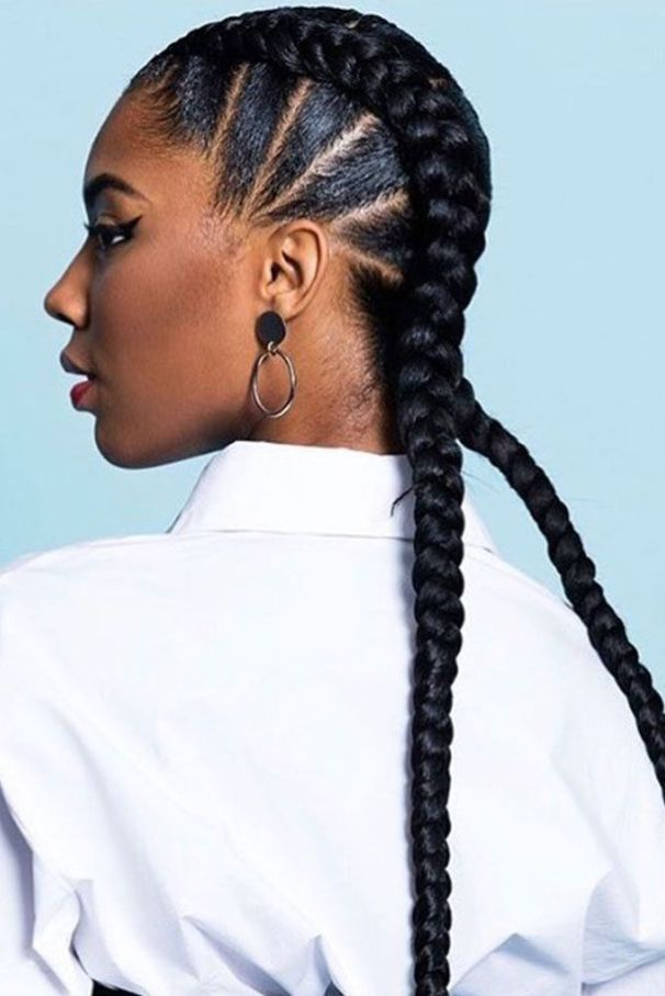 5 Ways To Wear The Two Braid Cornrow Style Everyone S Rocking Un Ruly Two Braid Hairstyles Cornrow Hairstyles Braided Hairstyles For Black Women Cornrows