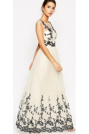 Maxi dresses - Premium Lace Embroidered Full Tulle Maxi Dress