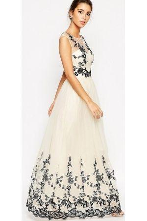 Maxi dresses - Premium Lace Embroidered Full Tulle Maxi Dress