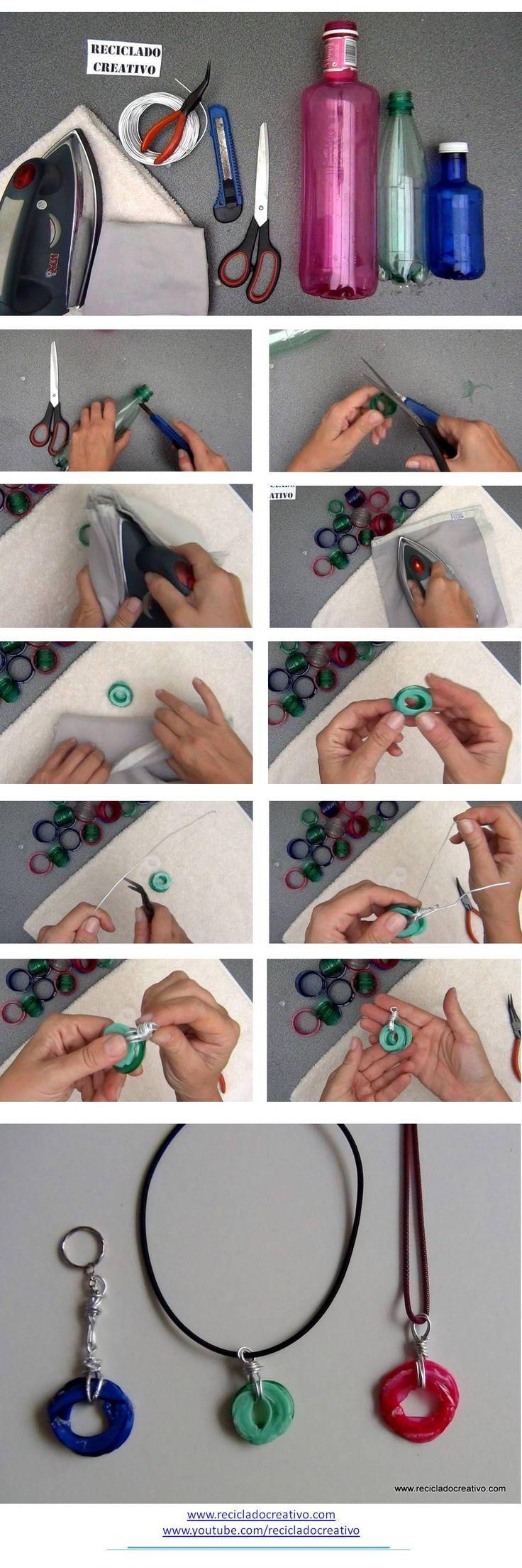Cómo hacer un colgante con el cuello de una botella de plástico