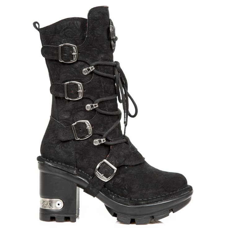New Rock Boots Floral Denim Effect Boots, NEOTYRE05 Boots Neotyre Sole
