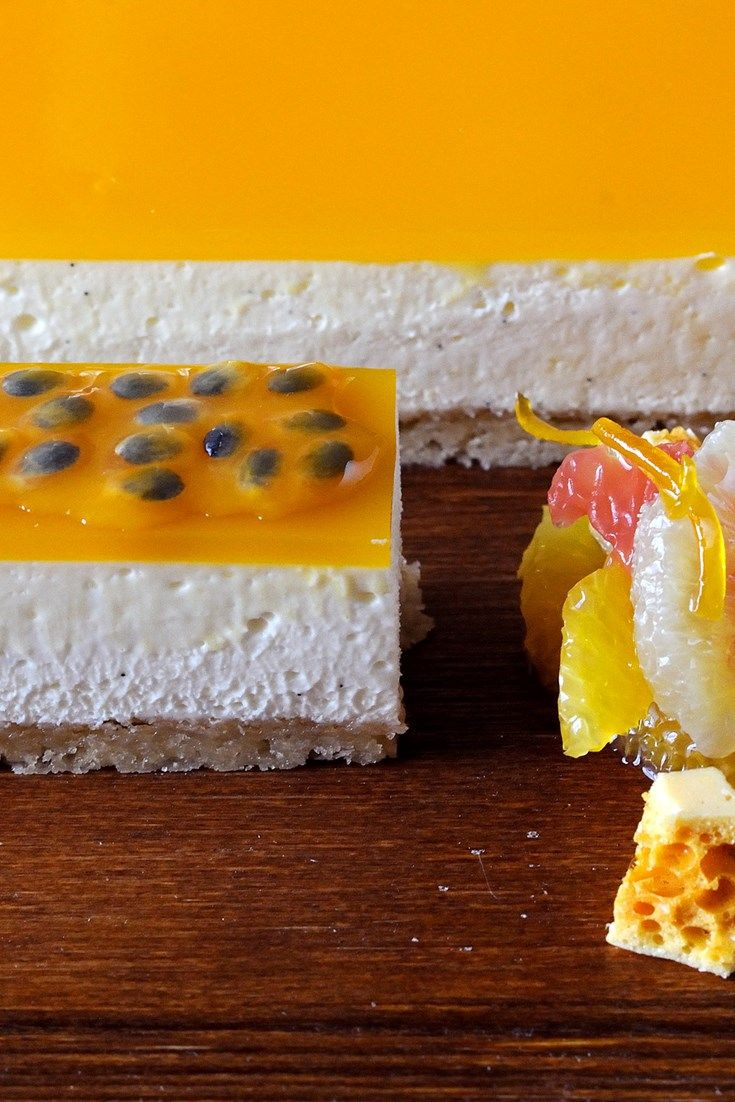 A layer of passion fruit makes this vanilla cheesecake recipe look and taste exquisite. This Simon Hulstone recipe is easy and delicious.