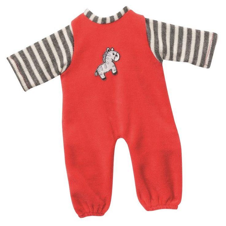 Overall Anzug rot/beige/braun mit Applikation Puppenkleidung 20-22 cm