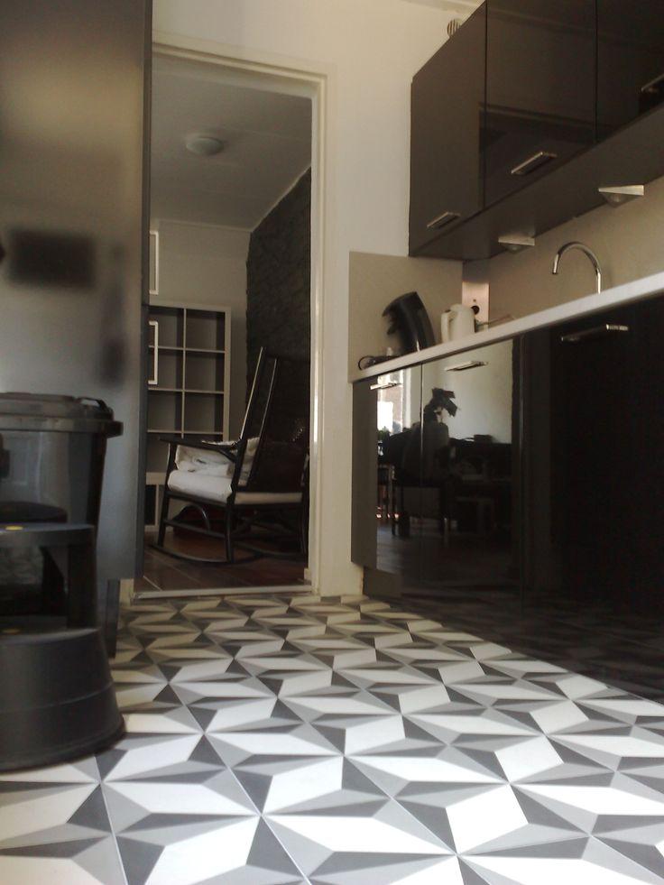 Retro style kitchen with cement tiles encaustic tiles for 1950s kitchen floor