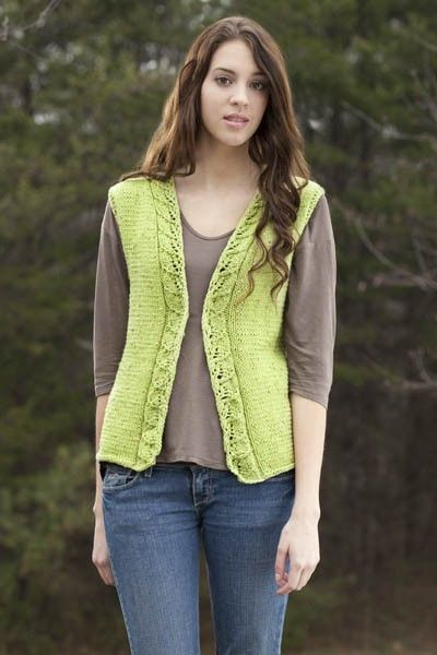 Free knitting pattern for Spring Leaves Vest Pattern and more vest knitting patterns
