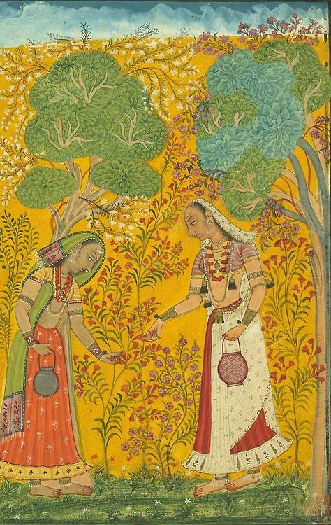 Vasanti Ragini, Spring musical mode, Two women filling baskets with flowers in burgeoning landscape [detail], ca. 1710, Bilaspur, Himachal Pradesh, India.