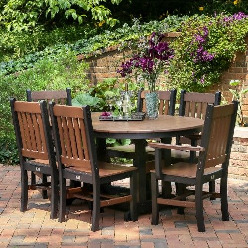 The Berlin Gardens Oblong Mission Outdoor Dining Set Surround The Garden  Classic 44 X 64 In Oblong Dining Table With ...