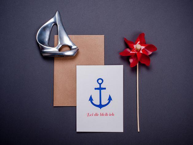 Grußkarte mit Anker zum Valentinstag / lovely postcard with anchor, greetings, valentines day by poulefolle via DaWanda.com