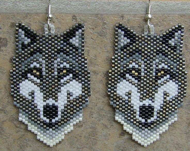 Grey Wolf Earrings Hand Made Seed Beaded