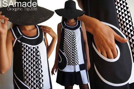 Robe trapèze chasuble bicolore noire et blanc motif géométrique triangles Graphique Grande taille inspiration année 70