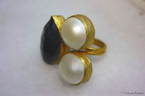 Lale Double Pearl & Smoky Quartz Ring Handcrafted by TurkuazBazaar, $75.00
