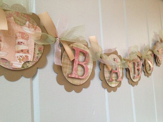 Shabby Chic Baby Banner   Baby Onsie Baby Banner   Cottage Chic Baby Shower  Decor