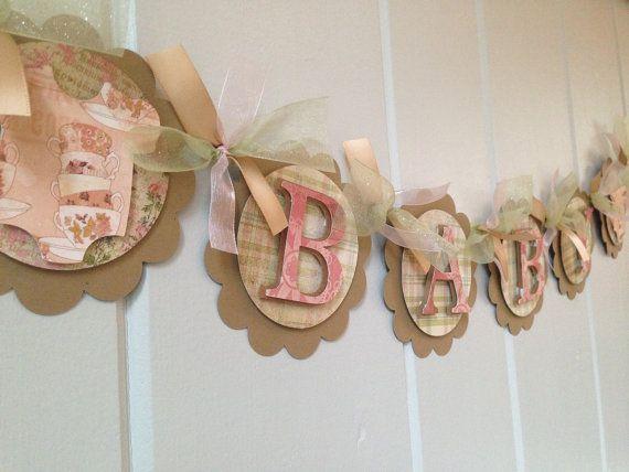 Shabby Chic bebé Banner Banner de ducha por SharingAPassionINC