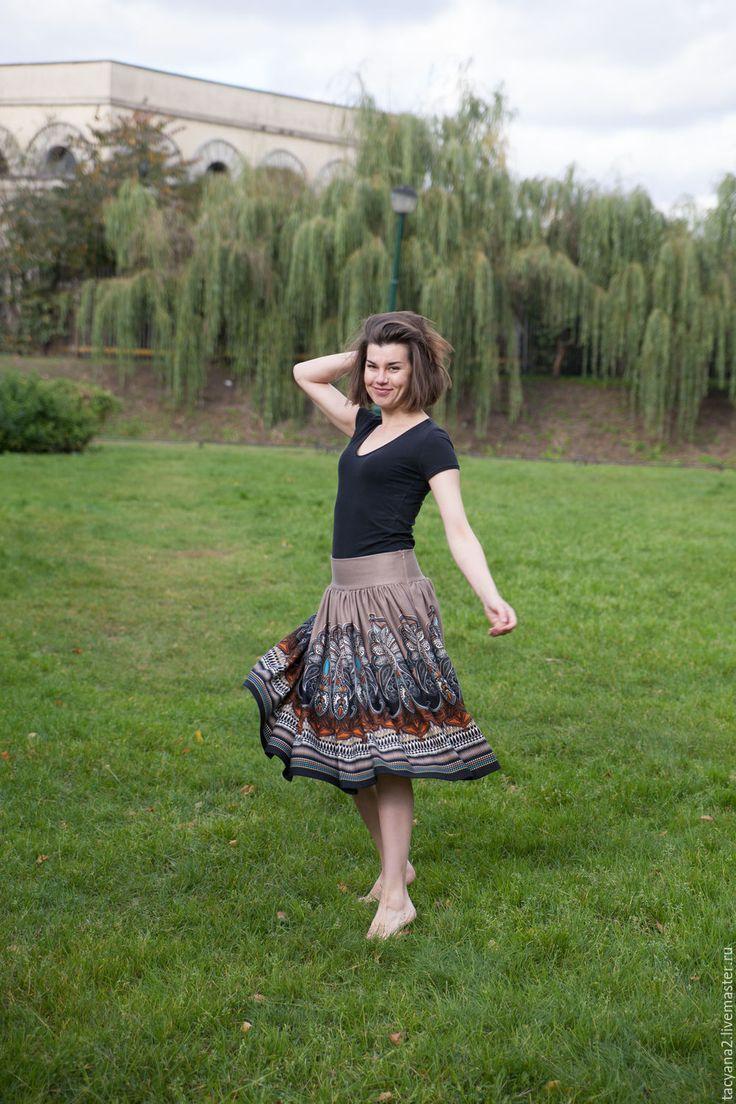 Купить Трикотажная юбка с принтом - бежевый, орнамент, юбка с широким поясом, юбка миди