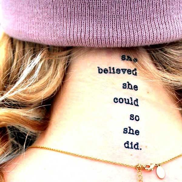Conscious Ink Temporary Tattoos - Temporary Tattoos - She Believed She Could So She Did Temporary Tattoo
