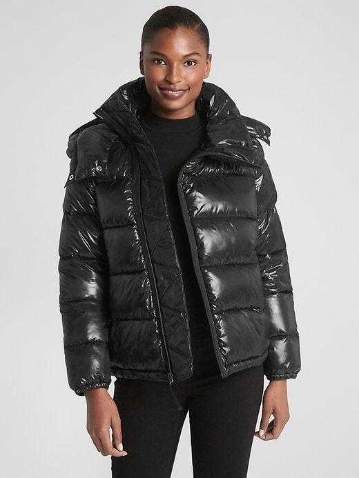 19290aadc7df Gap Womens High Shine Puffer Jacket True Black | Products | Jackets ...