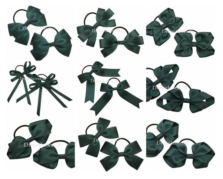 Bottle green school hair bows on thin bobbles, bottle green toddler hair bows #DreambowsUK