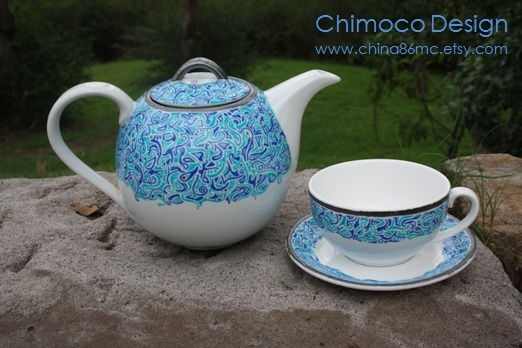 Hand-painted and drawn glass and ceramic pieces by Sydney-based Chimoco Design. www.china86mc.etsy.com #Chimoco Design # teapot #gift #request #ceramic #kitchen #home decor #blue