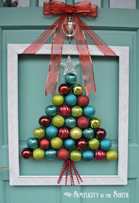 DIY Holiday Wreaths Make Awesome Homemade Christmas Decorations for Your Front Door |  Cool Crafts and DIY Projects by DIY JOY   |  Framed Christmas Tree Ornament Wreath |  http://diyjoy.com/diy-christmas-decorations-wreaths