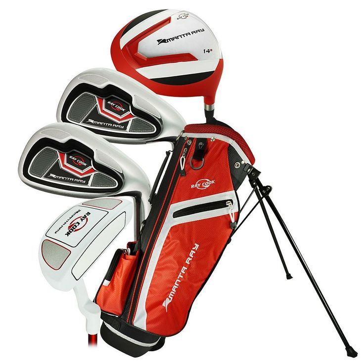 Kids Ray Cook Manta Ray Junior Left Hand 6-Piece Golf Club Set, Red