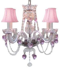 Crystal Chandelier with Pink Crystal Hearts and Pink Shades traditional chandeliers