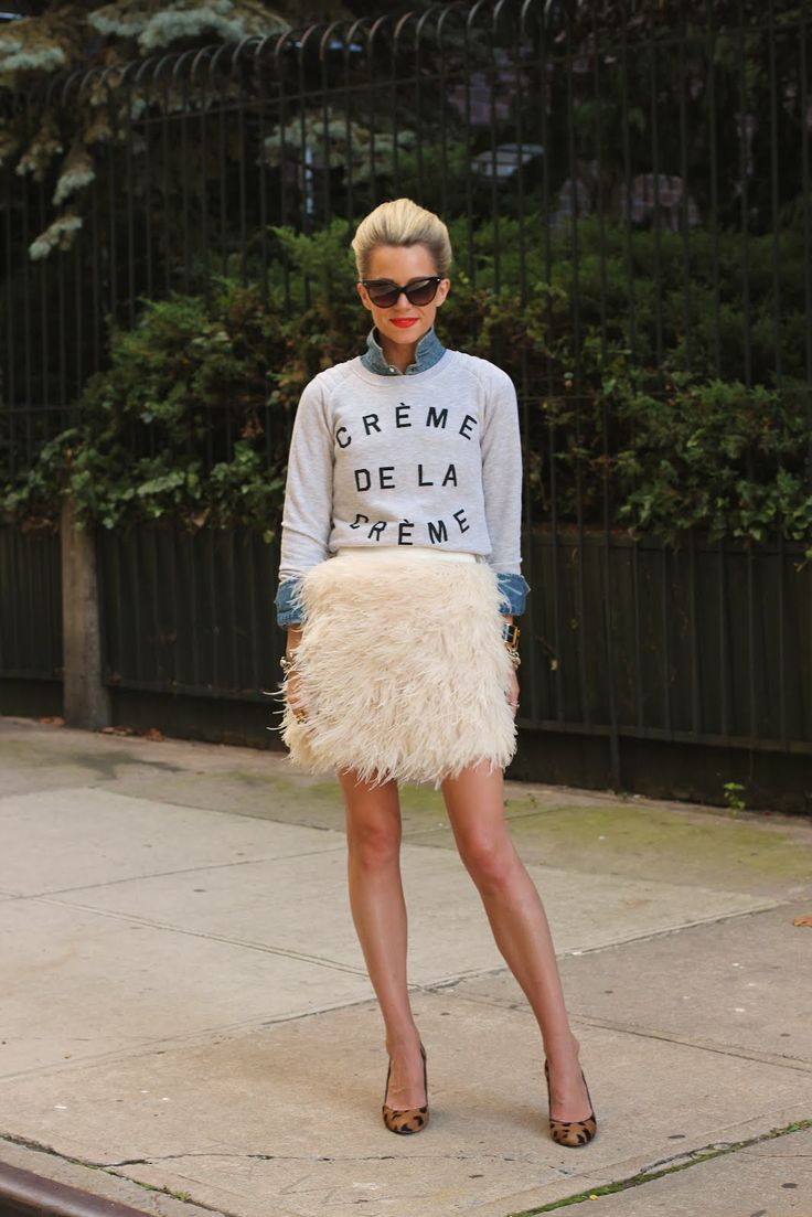 cute comboSkirts Style, Atlantic Pacific, Fashion, Street Style, Outfit, Denim Shirts, Feathers Skirts, Kate Spade, Victoria Secret Models