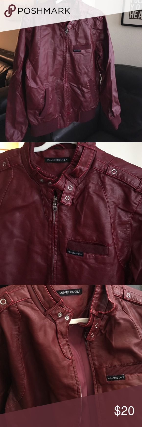 Men's faux leather  jacket Men's faux leather burgundy jacket . Three outer pockets, one inner pocket. Members Only Jackets & Coats Bomber & Varsity