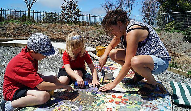 Creating a mosaic at Kaiapoi North School