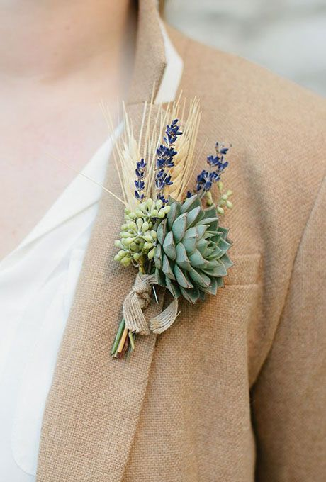 Groom's Boutonnieres for Fall Wedding: Rustic Boutonniere with Succulent, Lavender Eucalyptus, and Wheat | Brides.com