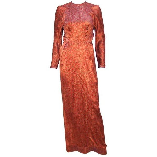 Preowned Tall & Slender 1980's Copper Brown Silk Evening Gown With... (€330) ❤ liked on Polyvore featuring dresses, gowns, brown, petite dresses, red evening gowns, petite red dress, long-sleeve floral dresses and floral dresses