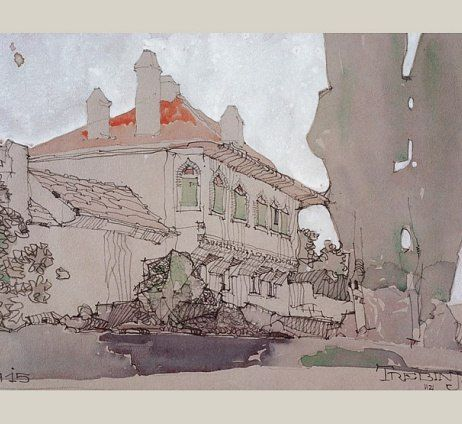 A 1915 drawing of a house in the village of Trebinje near Dubrovnik reveals Neutra's  fascination with Islamic style architecture. Architectural Digest