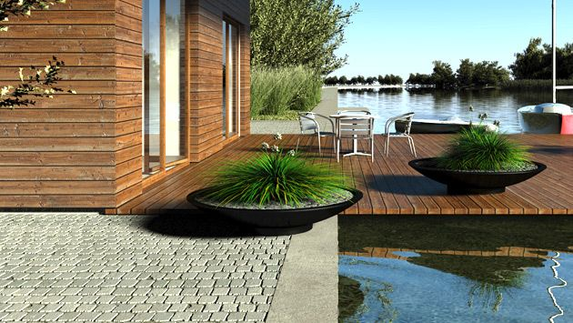 Floating deck and saucer planters.
