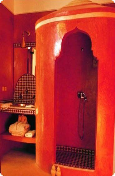 Moroccan bath: Walks In Shower, Orange, Inspiration, Moon To Moon, Colors, Be Bold, Shades Of Red, Bathroom Mirror, Bohemian Bathroom