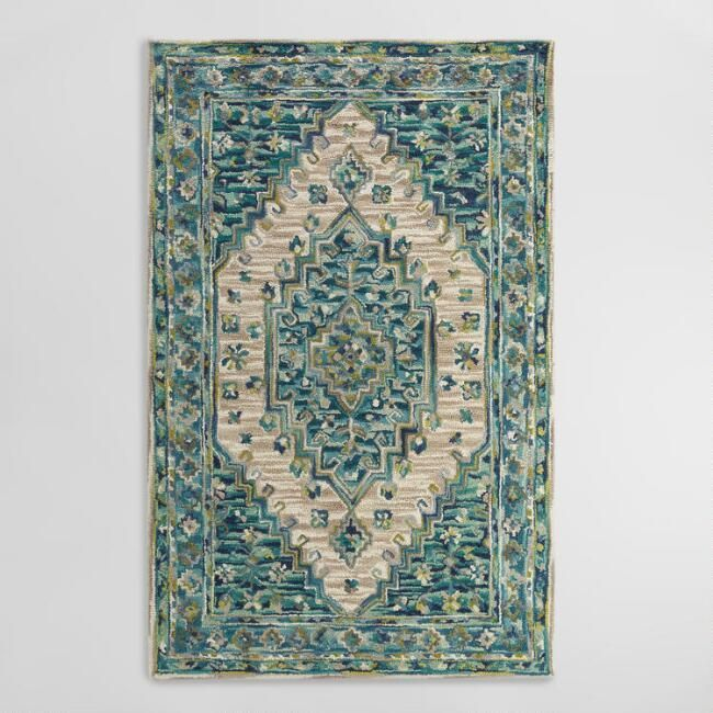 Blue Tufted Wool Zahra Caravan Area Rug - v1