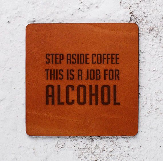 Funny gifts Leather gift Alcohol Coffee Leather Coasters