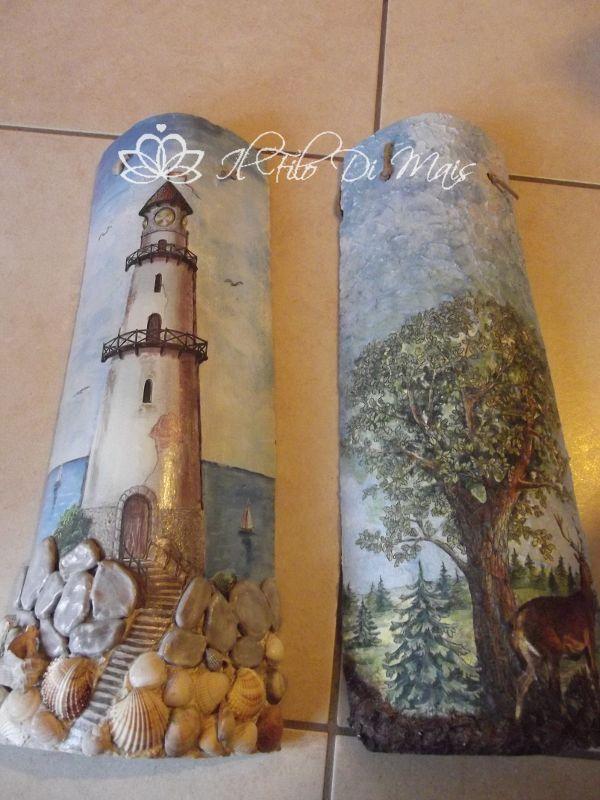 Il filo di mais di Chiara Gloria e Daniela: Coppi decorati paesaggi