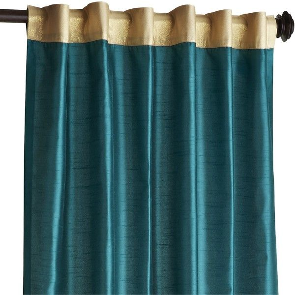 "Pier 1 Imports Hamilton 96"" Curtain (£40) ❤ liked on Polyvore featuring home, home decor, window treatments, curtains, teal, lining curtains, teal curtains, faux silk curtains, teal blue curtains and teal home decor"