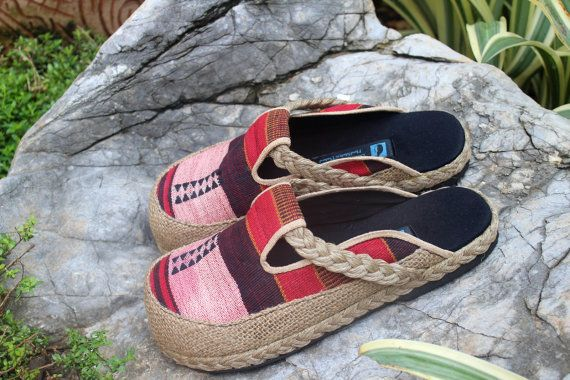 Womens Slides in Tribal Naga Slip On Vegan Shoes by Siamese Dream Design,
