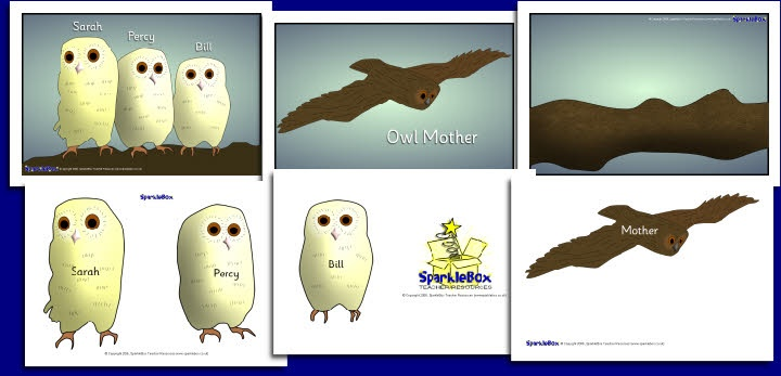 Plaatjes van uilenjongen en hun moeder.