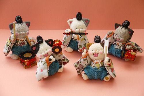 ~ 「 ねこ雛 10人飾り 」 出品中 ~ - ちりめん猫のハンドメイド日和