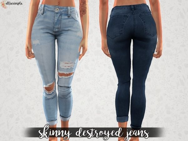 The Sims 4 Elliesimple Skinny Destroyed Jeans | Sims 4